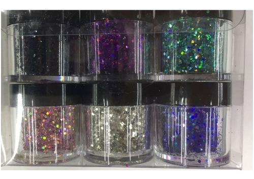 glitter flocado com 12 unidades para decoração de unhas