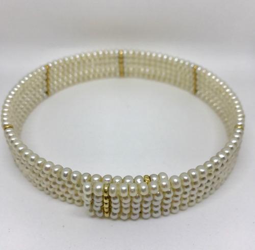 glitter joias - colar choker de pérolas e ouro 18k