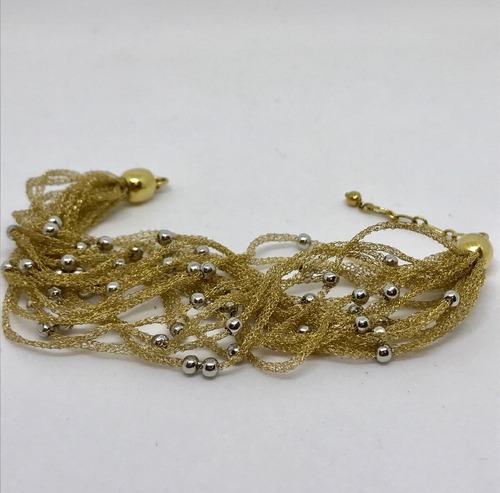 glitter joias - pulseira em fios de ouro com bolinhas 13gr