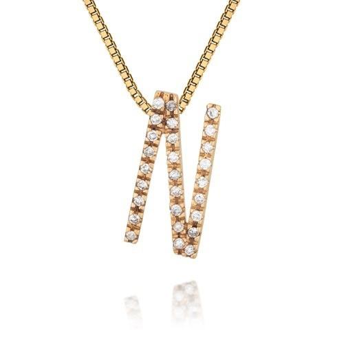 b74ab75c3371a Glitter - Pingente Berloque Vivara Ouro E Diamantes Letra N - R  450 ...