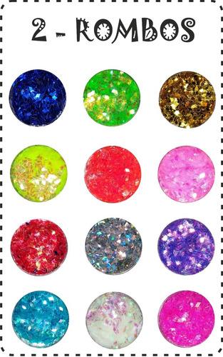 glitter uñas x12 - decoración uñas - caviar - rombos