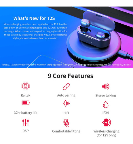 global version qcy t2s tws bt - auriculares inalámbricos