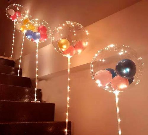 globo burbuja con tira led calida + varilla 50cm inc pilas