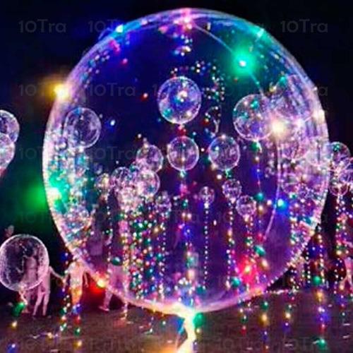 globo burbuja transparente 30 luces led 3 metro de tira deco