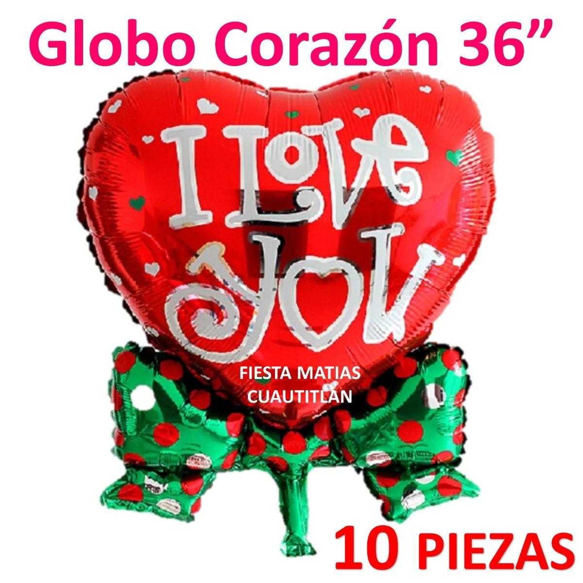 Globo Corazon Jumbo 36 Pulgadas San Valentin Helio 10 Piezas