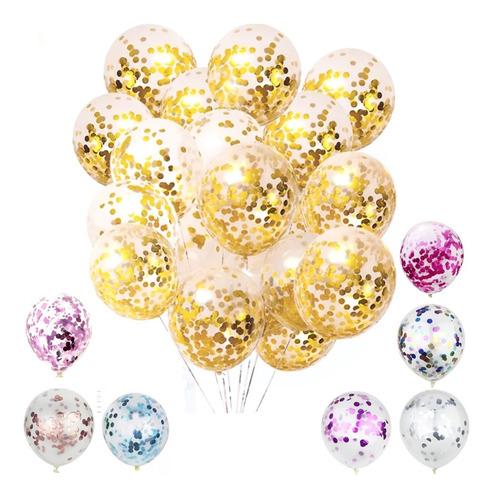 globo cumpleaños confetti multi color x12 cotillón activarte