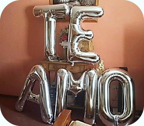 globo de letras doradas y plateadas 75cm globos metalizados