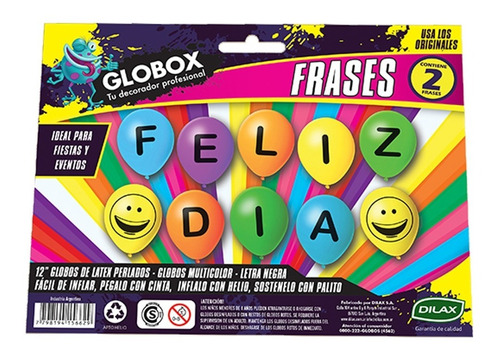 globo globox frase feliz día 12 pulgadas x 2 - cc