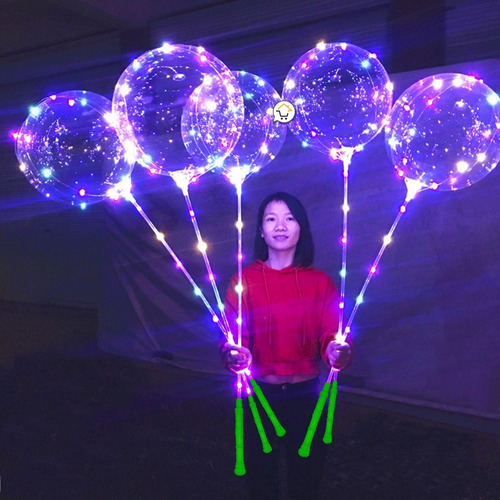 globo led luminosos 40 cm + luces micro led multicolor j042