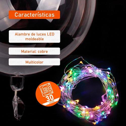 globo luminoso led cristal multicolor alambre palito 18 pulg