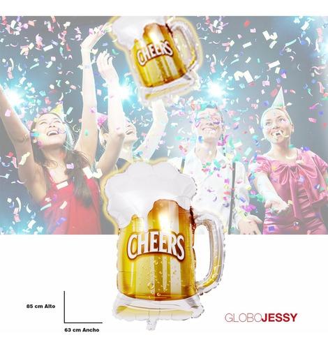 globo metalico jarra de chop cerveza para cumpleaños
