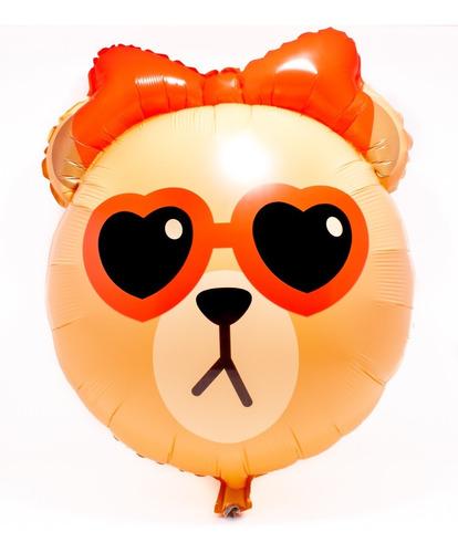 globo metálico osa con lentes de corazón y moño  - 5 pack -