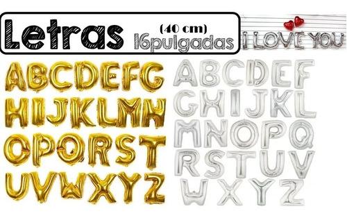 globo metalizado 16 pulgadas 40 cm letras numeros colores