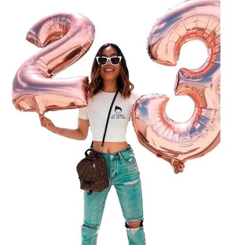 globo metalizado 80cm plata deco rosa gold feliz cumpleaños