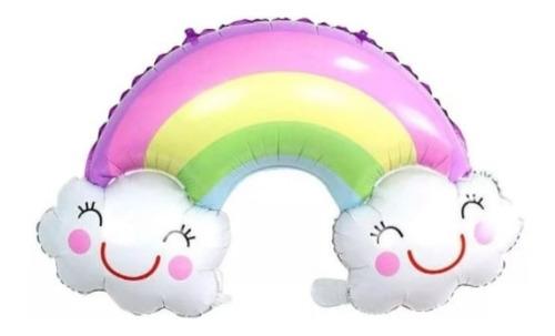globo metalizado arcoiris con nube en colores pasteles 90cm