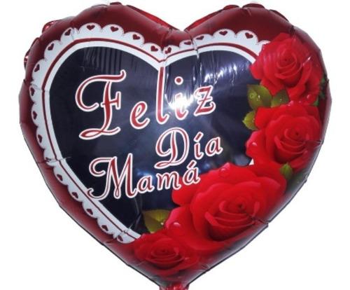 globo metalizado corazòn,  feliz dìa mamà