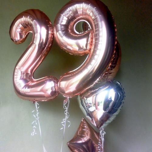 globo metalizado de numeros de 1 al 9 en rosa gold de 72 cm