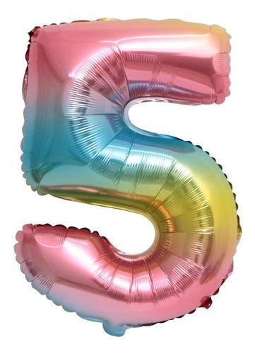 globo metalizado numero gigante arcoiris 70 cm