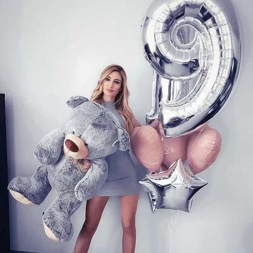 globo metalizado numeros plateado 70cm x1 unidad cumpleaños