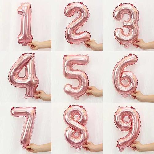 globo metalizado numeros rosa gold 40cm x1 unidad cumpleaños