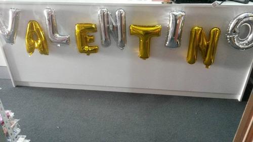 globo metalizados en letras 40 cm plata/dorado