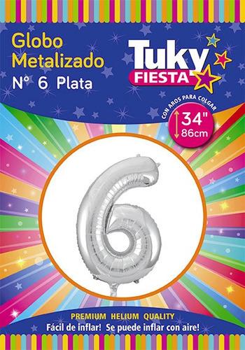 globo numero metalizado 34 pulgadas (86cm) apto para helio