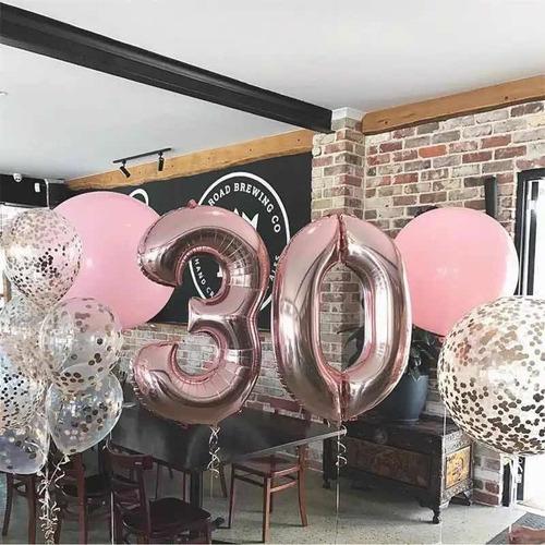 globo numero metalizado gigante rosa gold 30 pulgadas 70 cm