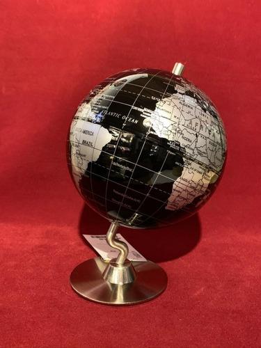 globo terraqueo 14 cms negro base metal