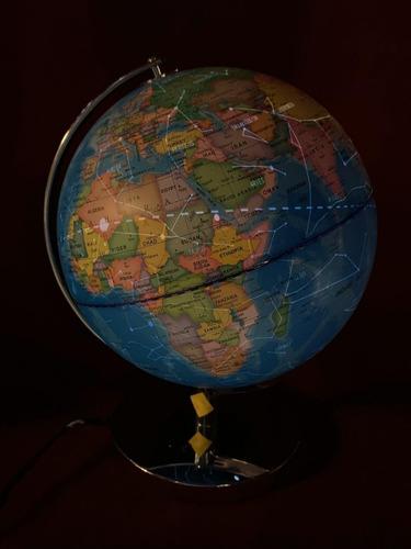globo terráqueo 25 cm constelacionescon luz base metal