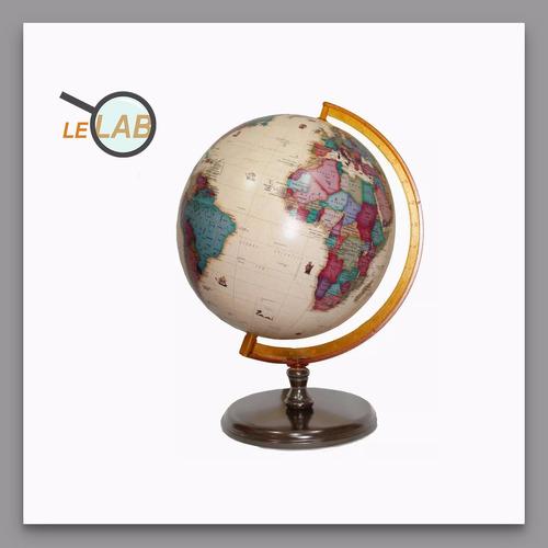 globo terraqueo 25cm ø base madera politico sepia 259a lelab