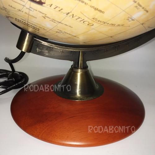 globo terraqueo con luz sepia base madera y metal 30cmø awml