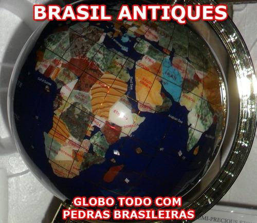 globo terrestre espetacular peça todo em pedras brasileiras
