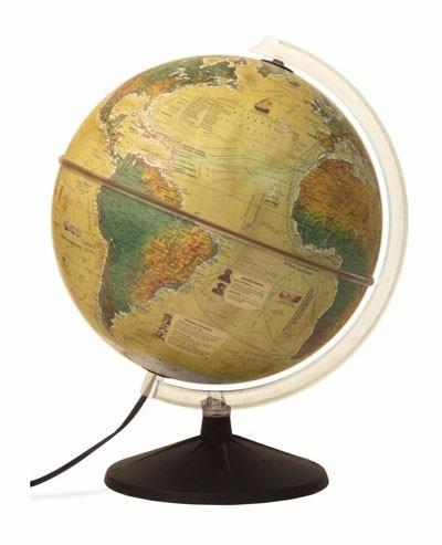 globo terrestre político histórico iluminado bivolt 30cm