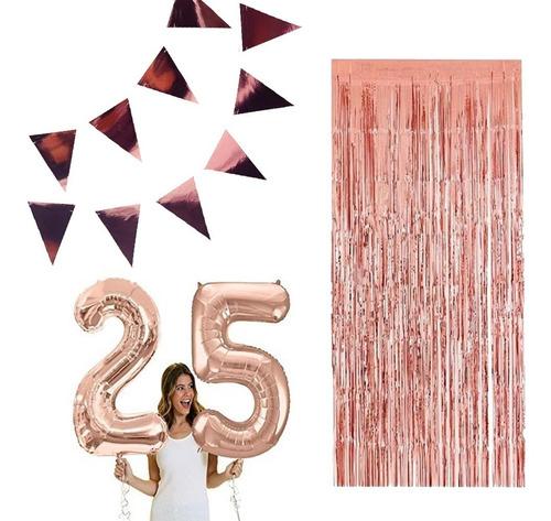 globos 1 metro gold rose numero x2+ banderines cortina rosa