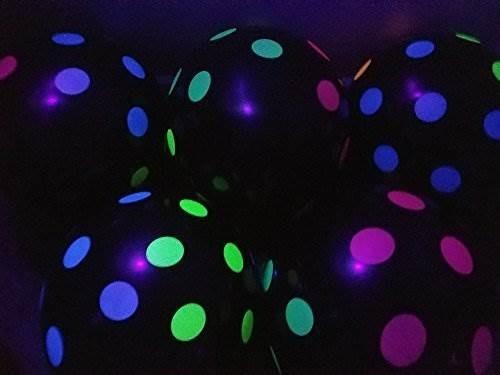 globos blacklight party - negro con lunares de neón que bril