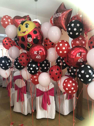 globos con helio a lunares.  lo mejor!!