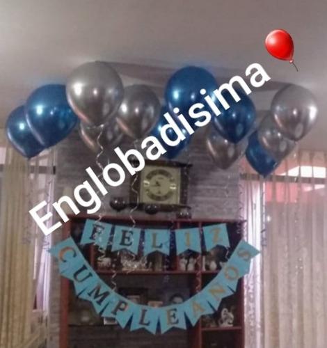 globos con helio,globos cromados,banderines feliz cumpleaños