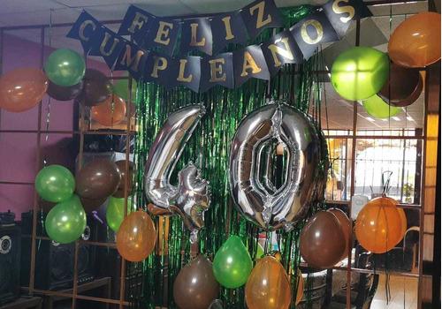 globos cromados,cortinas metalicas,banderines,numeros,velas