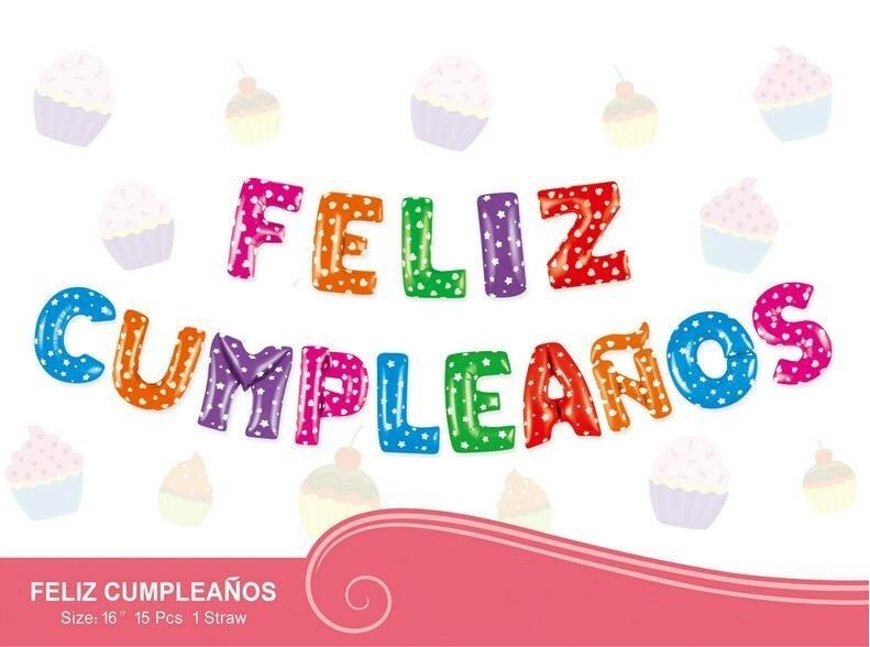 Globos De Letras Feliz Cumpleaños Juego 15 Pz. 16 Pulg