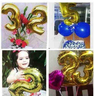 globos de numeros  metalizados 45 cm, dorados y plateados