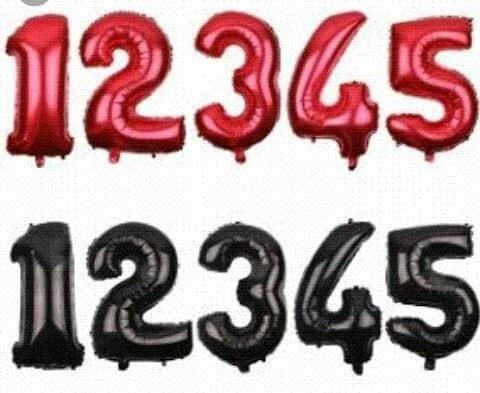 globos de numeros rosados rojos negros gold metalizados 80cm