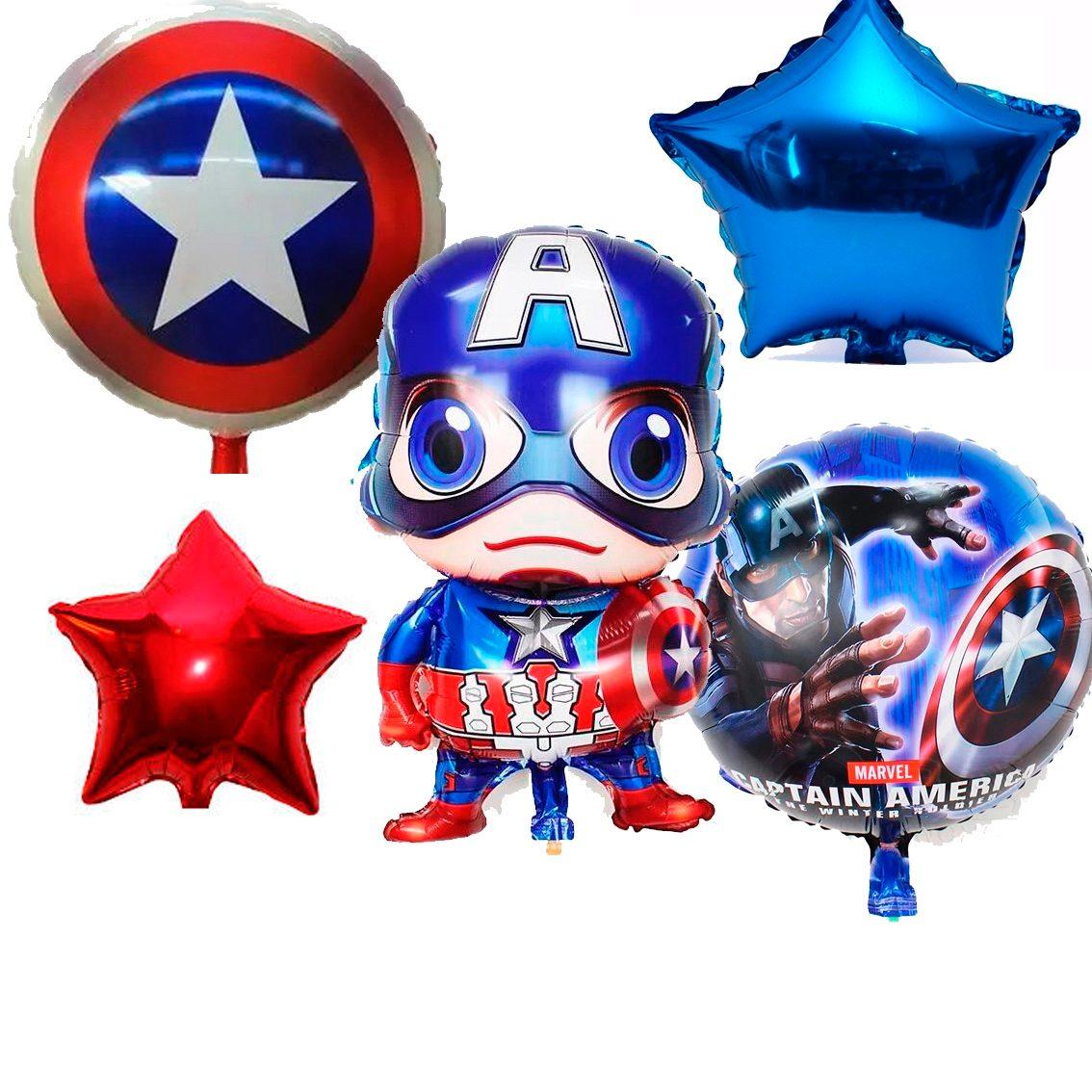 Centro De Mesa Capitán América: Globos De Capitan America Paquete De 27 Globos Capitan