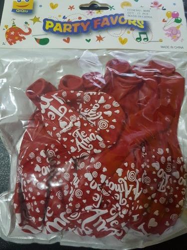globos estampados corazones te amo  r12 rojos blancos paq 12