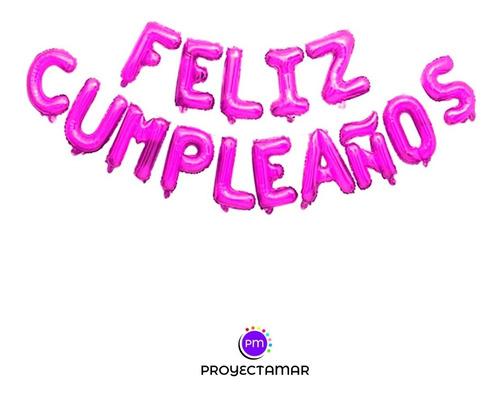 globos figura feliz cumpleaños rosa