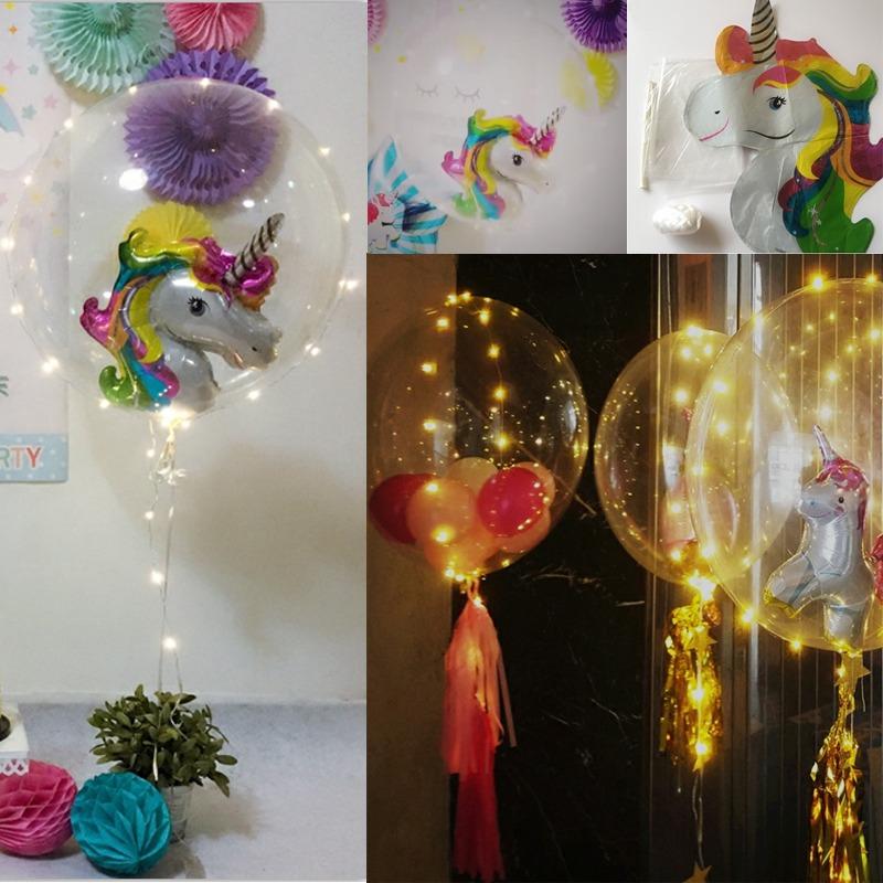 Globos unicornio con globo cristal y luz led para for Decoracion para pared de unicornio