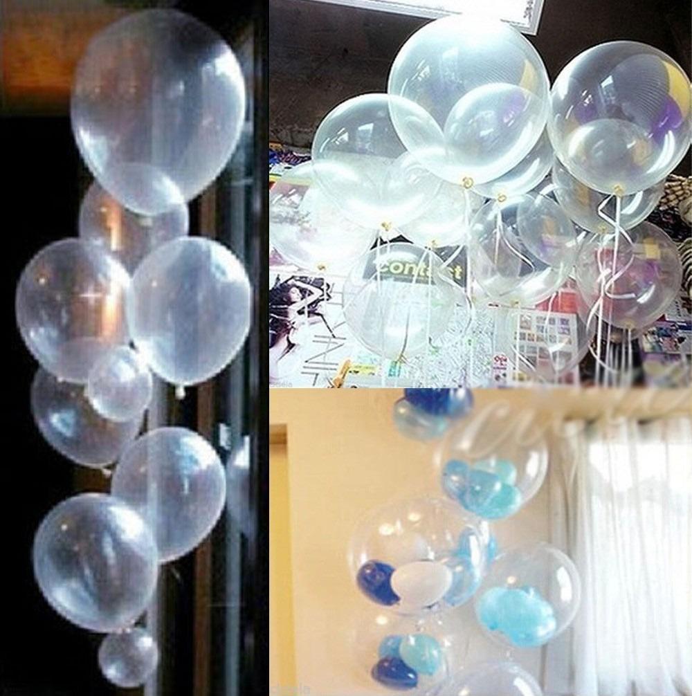 50 globos latex cristal transparentes decoraci n helio - Decoracion con globos 50 anos ...