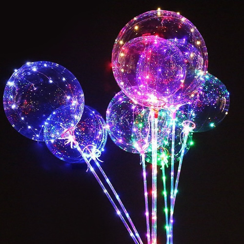 globos led gigante 45 cm + micro led globo vinilo bomba led