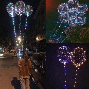 globos led helio + controlador led globos luminoso 53cm