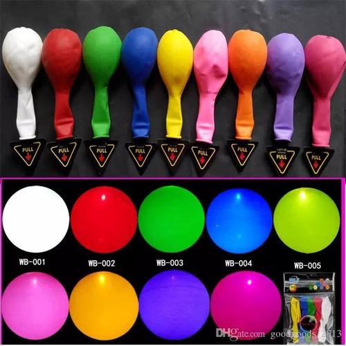 globos led x 6 unidades multicolor látex luminoso
