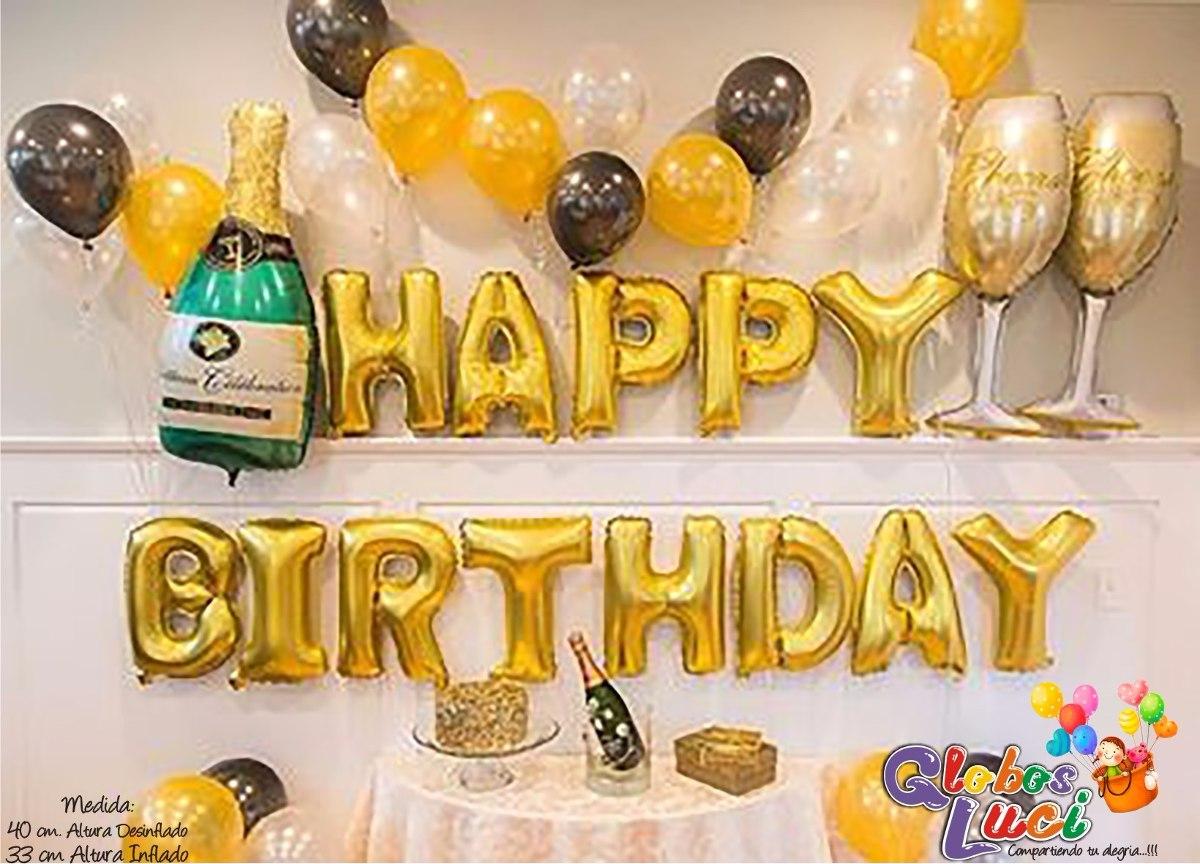 Globos letras metalicos happy birthday s 20 00 en - Decoracion 50 cumpleanos ...